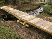 Small hemlock backcountry style bridge