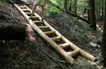 Hemlock timber steps (to be backfilled with gravel).
