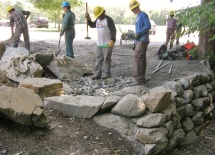 Stone retaining wall workshop