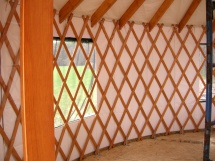 Inside the new yurt.