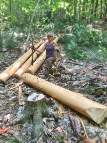 Peeling and prepping hemlock logs