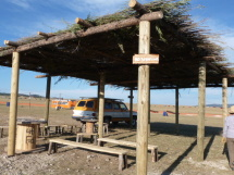 Shade structures with logs and willow.